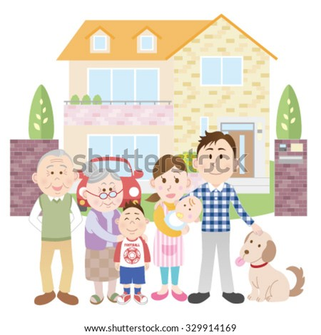 Happy family outside their new house - stock vector
