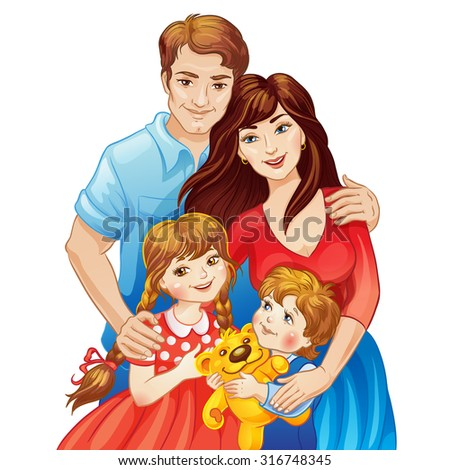 Happy family. Parents and kids. Father and mother, daughter and son. Vector illustration