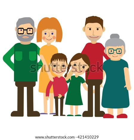 Happy family portrait. Father and mother, son and daughter, grandparents alltogether. Flat Vector illustration. - stock vector