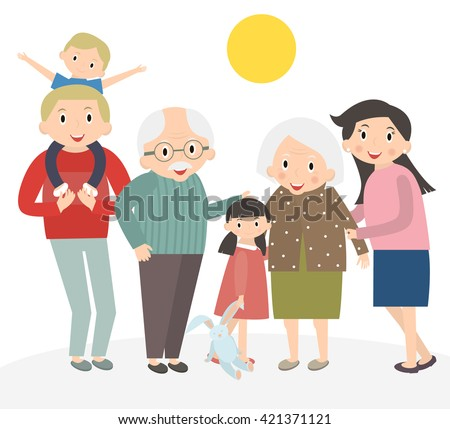 Happy family portrait. Father and mother, son and daughter, grandparents in one picture together. Family isolated on white. 3 generations together. Vector illustration. - stock vector