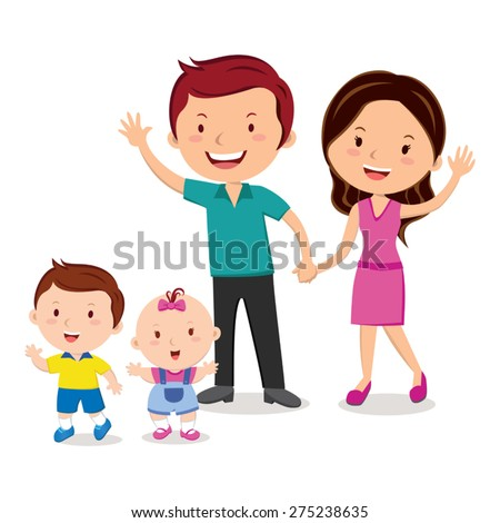 Happy family portrait. Happy family gesturing with cheerful smile. - stock vector