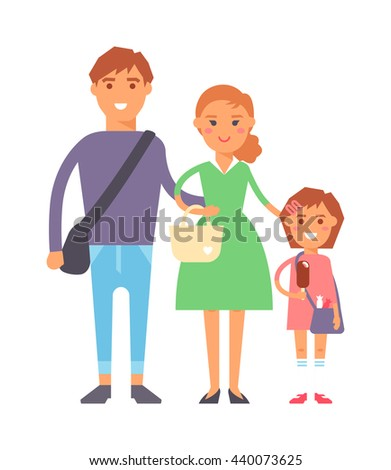 Happy family portrait together vector characters. Vacation family fun together and cartoon family joy together. Parent leisure cheerful portrait family. - stock vector