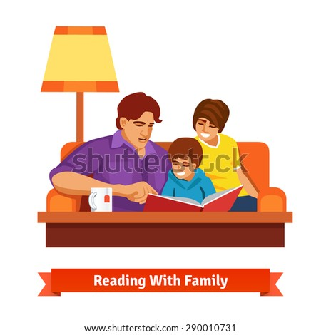 Happy family reading together. Mother, father and son sitting on a sofa. Parenting concept. Flat style vector illustration. - stock vector
