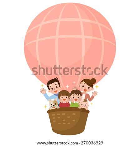 Happy family riding a balloon - stock vector