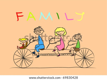 happy family riding a bike together - stock vector