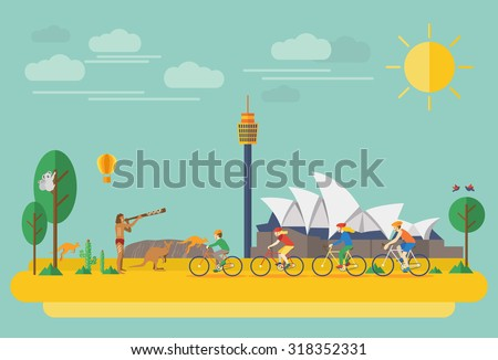Happy family riding bicycles in Australia. Flat Illustration, all objects are grouped. - stock vector