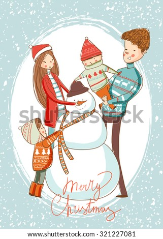 Happy family sculpts snowman. Merry Christmas.  - stock vector