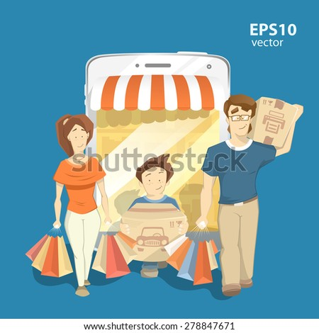 Happy family shopping in internet shop store. Man woman and kid walking and carrying bags. Color vector 3d creative concept illustration. - stock vector