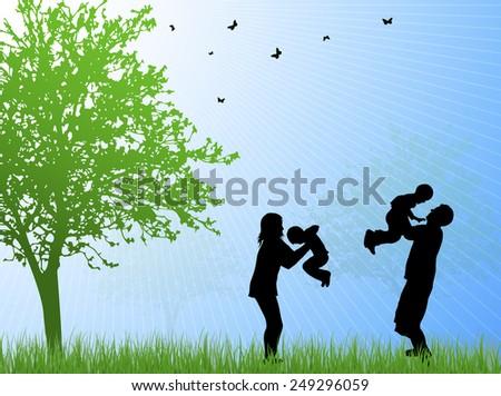 Happy family silhouettes - stock vector