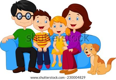 Happy family sitting on sofa  - stock vector