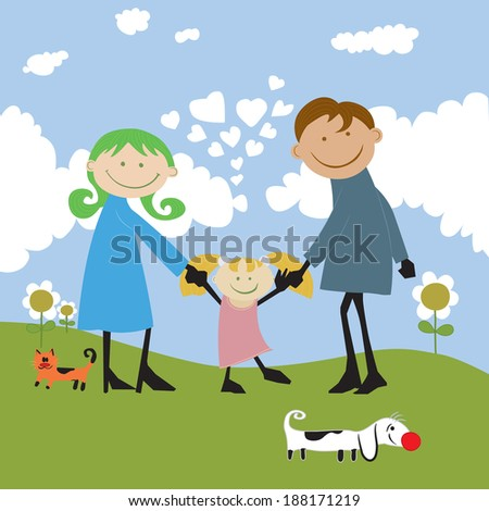 happy family spending time outdoors.cartoon illustration  no gradients.
