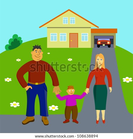 Happy Family Stays Front Their House Stock Vector ...
