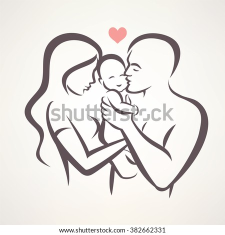 happy family stylized vector symbol, young parents and baby - stock vector