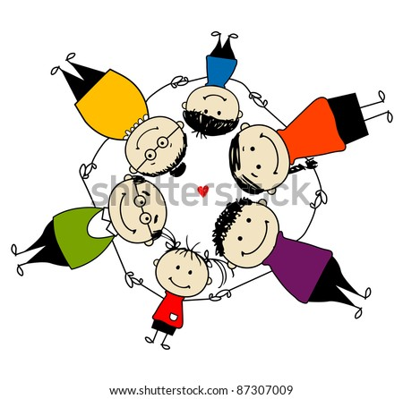 Happy family together, frame for your design - stock vector
