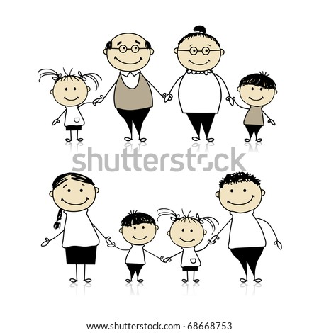 Happy family together - parents, grandparents and children - stock vector