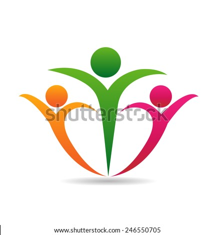 Happy family union concept of support voluntary teamwork logo design - stock vector