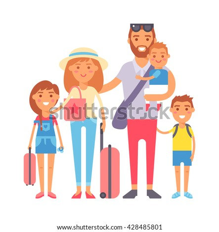 Happy family vacation together on beach and vacation family vector character. Vacation family fun together and Vacation family travel joy outdoors. Parent leisure cheerful vacation family. - stock vector