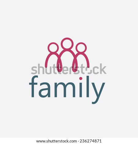 happy family vector design template - stock vector