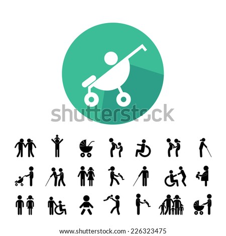 happy family vector icon set  - stock vector