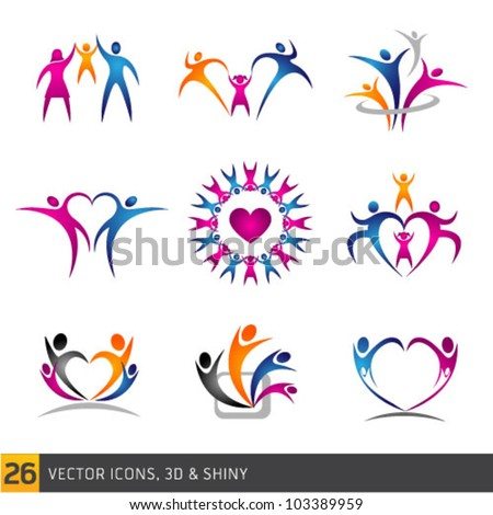 happy family vector multicolored icons collection multicolored - stock vector