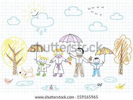 Happy family. Vector sketch on notebook page - stock vector