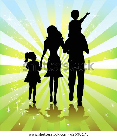 happy family walking together - stock vector