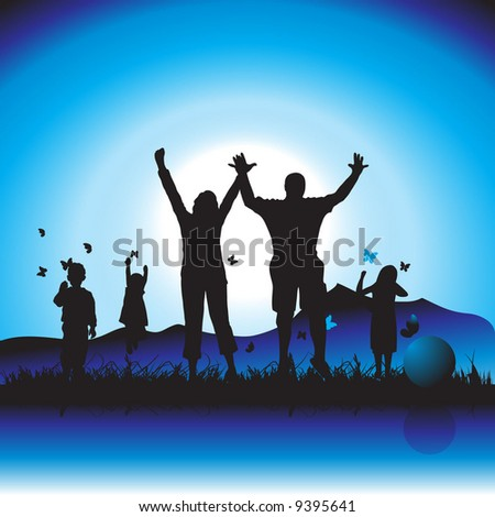 Happy family walks on nature, evening - stock vector