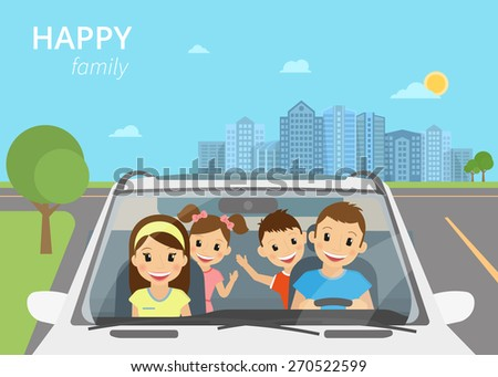 Happy family with children travelling by car - stock vector