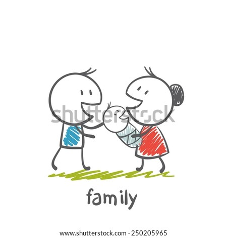 happy family with dad, mom and baby illustration - stock vector