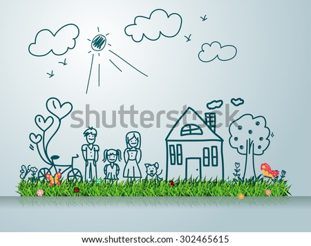 Happy family with house, Creative drawing on green grass field concept ideas, Vector illustration modern design template - stock vector