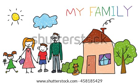 Happy family with kids, house, children hand drawing style, doodle. For banner, print, social advertisement about childhood. - stock vector