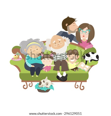 Happy family with mother dad son daughter grandfather and grandmother. Vector isolated illustration - stock vector