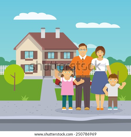 Happy family with parents and boy and girl children in front of the house flat vector illustration - stock vector