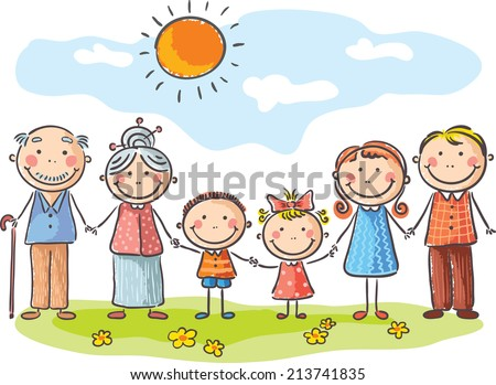 Happy family with two children and grandparents - stock vector