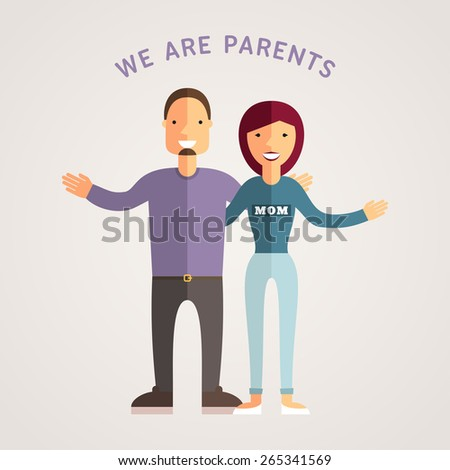 Happy Family - Young Parents. Flat Design Vector Illustration - stock vector