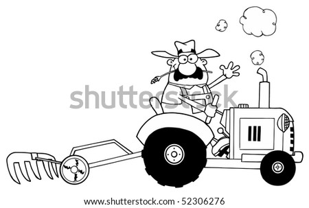 Happy Farmer Driving Tractor BW - stock vector
