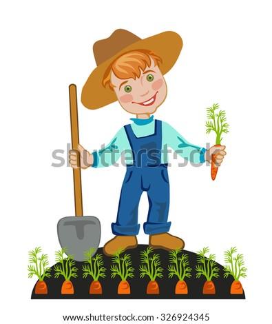 Happy farmer is working in the garden - stock vector