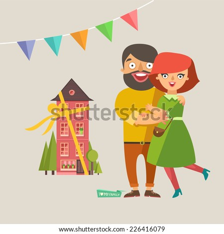 Happy fashion young Couple In Love smiling and embracing. A new house as gift and garlands on background. Vector colorful illustration in flat design - stock vector