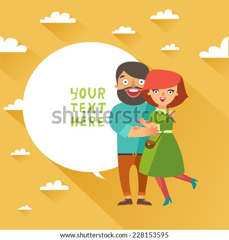 Happy fashion young Couple In Love smiling and embracing on background with sky and clouds. Vector Man and woman couple in flat design and bubble for text - stock vector