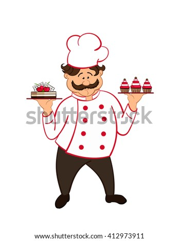 happy fat confectioner with  chocolate cakes with cherry. vector.  isolated. - stock vector