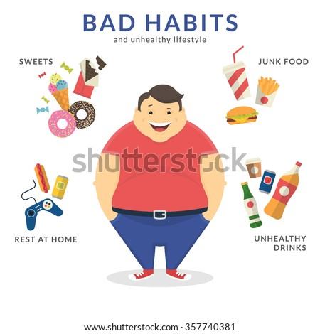 Happy fat man with unhealthy lifestyle symbols around him such as junk food, sweets, video game and unhealthy drinks. Flat concept illustration of bad habits isolated on white - stock vector