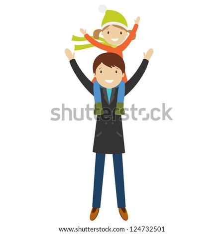Happy father and daughter, sitting on his shoulders, isolated on white. Vector illustration