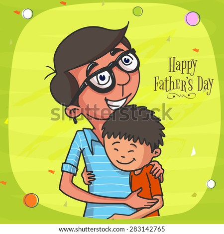 Happy Father loving and hugging his cute son on shiny green background, concept for Happy Father's Day celebration. - stock vector