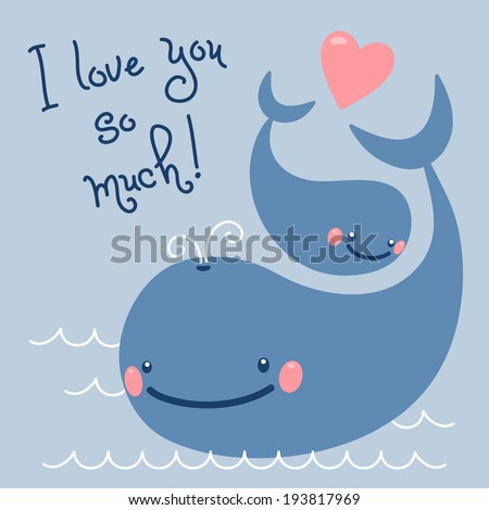 Happy Father's Day. Card with cute whales. Vector illustration. - stock vector