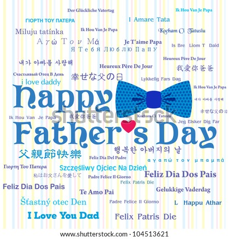 Happy Father's Day Greeting Card / Bow Tie Design / Typography Design - stock vector