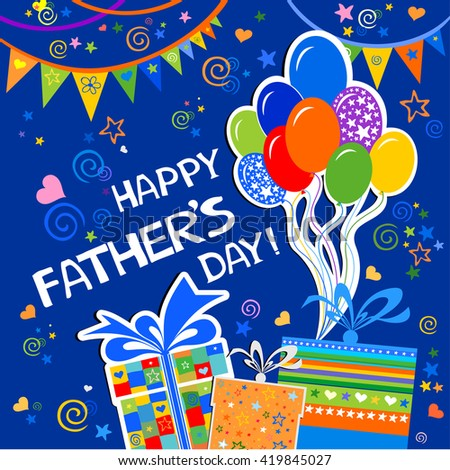Happy fathers day greeting card celebration stock vector hd royalty happy fathers day greeting card celebration blue background with gift boxes balloon and m4hsunfo