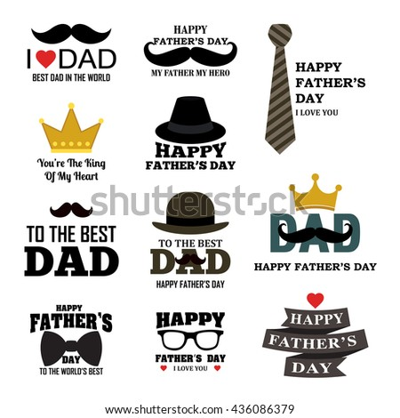 Happy Father's Day Greeting Card / I Love My DAD  - stock vector