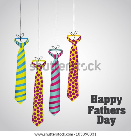 Happy Father's Day, holiday card with ties - stock vector