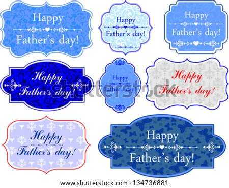 Happy Father's Day! Set Retro colorful Tag. Vector Illustration - stock vector