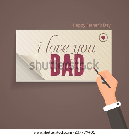"""Happy Father's Day Theme """"i love you Dad"""" Lettering, Flat Style Pencil and Notebook Write Design Template - stock vector"""